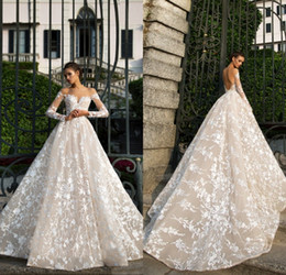 Wholesale Wedding Dress Crystal Necklines - 2018 Designer Spring New Long Sleeve Lace Wedding Dresses Illusion Neckline Backless High Quality Bridal Gown Factory Custom Made