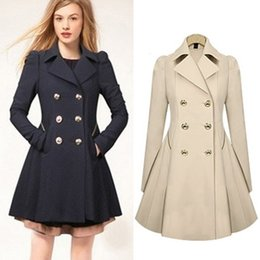 Wholesale Womens High Collar Coats - High-Grade 2015 Newest Elegant Womens Autunm Fashion Casual Trench Coat Long Sleeve Slimming Fitte turndown collar with pocket Long Coat.