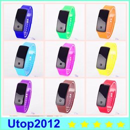Wholesale Jelly Touch Screen - Utop2012 Big Promotion! Fashion Sport LED Watches Candy Jelly Men Women Silicone Rubber Touch Screen Digital Watches Bracelet Wristwatch