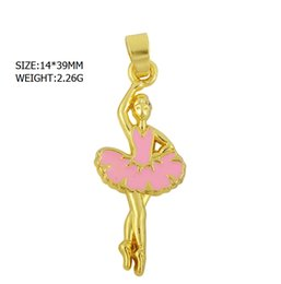 Wholesale Pink Sport Necklaces - good quality 50pcs a lot zinc alloy material 18k gold plated pink enamel skirt ballerina ballet dance charm for necklace making