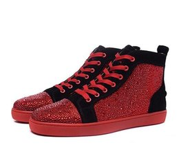 Wholesale Lace Up Studded Boots - 2017 red bottom Unisex Ankle Boots Bling Shinny High Top Mens Shoes Casual Shoes Studded Crystal Fashion Lace-Up Luxury Designer Shoes Men