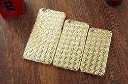 Wholesale Diamond Veneer - For iphone 6 6S 4.7 Plus 5.5 5 5S Woven Weave Knit Diamond Leather PC Plastic Hard Case Colorful Fashion Veneer Gluing Skin cover 300pcs