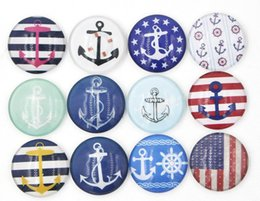 Wholesale Anchor Hook Bracelet - New Arrival Interchangeable 18mm Cabochon Glass Stone Buttons Cabochon Nautical Anchor Buttons for Snap Bracelet Necklace Ring Earring