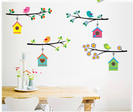 Wholesale Bird Cage Bedroom Stickers - Three Bird Cage House Tree Branch Wall Decal Art Mural Sticker Colorful Blossom Home Art Wall Decoration Decal Poster for Kids