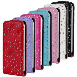 Wholesale Diamond Pouch Case - Flip Vertical Bling Glitter shiny flower Diamond PU leather skin cover case pouch cases for Iphone 5 5G 5S