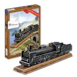 Wholesale Top Quality Colourful Carboard Jigsaw Model D Puzzle Pacific Steam Train DIY Xmas Gift Toys for Kids Daily Learning Education