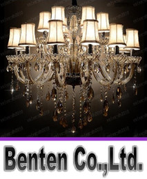 Wholesale Large Traditional Chandelier - Free Shipping 18 Lights Traditional Luxury Large Crystal Ceiling Chandelier Lamp, Classical Glass Chandelier Light Lighting for Lobby LLFA43