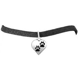 Wholesale Bracelet Dog Tags - 50pcs lot zinc alloy antique silver plated dog paw on heart animal tag bracelets
