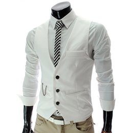 Wholesale Three Button Suit Sale - Wholesale-2015New Arrival Hot Sale Brand Men Suit Dress Vests Mens Fitted Tops Three Buttons Gilet Waistcoat Casual Business JacketWTMM026
