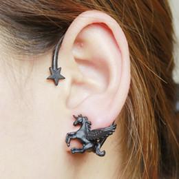 Wholesale Ear Cuffs Horse - Fashion Trendy Women Girl Stylish Punk Rock Black Star Horse Ear Cuff Wrap Earring Wholesale 12 Pcs Jewelry