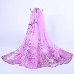 Wholesale Flower Hijabs - New Women Chiffon Silk Scarfs Fashion Spring polyester Scarves Print flowers Shawl Summer Shawls And Hijabs