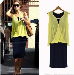 Wholesale lady blouses piece - Hot Plus Size Dress Womens Clothing New Fashion Lady Chiffon Blouse Tops + Dress 2 Piece Set Sleeveless Casual Dresses Yellow Blue SV003329