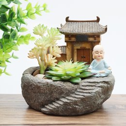 Wholesale Plastic Temples - 1pc Buddhism Temple Resin Flowerpot Succulent Plants Planter Monk Flower Pot Home Garden Decoration Bonsai Flower Pot Fengshui
