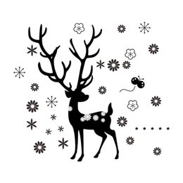 Wholesale Christmas Home Window Stickers - Christmas Home decoration stickers window sticker new year Christmas wall stickers elk stickers black free shipping