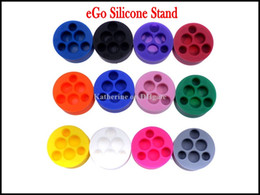 Wholesale Sucker Stands E Cig - Silicone Stand eGo Holder 6 Holes 4 Holes for E Cigarette Silicone Base Holder for eGo-t Q vv Battery E Cig Sucker Mixed Colors Available