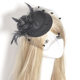 Wholesale African Feather Hat - Hot Black Pillbox Hat Fascinator Weddings Ladies Day Race Royal Church Bride Hair Accessories Headdress Accessory Flower Feather Handmade