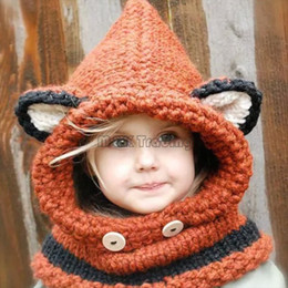 Wholesale Knitting Baby Cowboy Hats - Winter Kids Warm Fox Animal Hats Baby Knitted Coif Hood Scarf Beanies for Autumn Winter Very Cute Soft Orange 250g