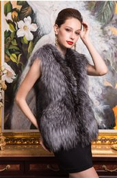 Wholesale Plus Size Warm Tops Womens - Plus Sizes Womens Faux Fox Fur Warm Vest Jacket Fashion Sleeveless Long Hair Fur Top Winterwear Waistcoat Coats Free Shipping WT149