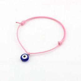 Wholesale Evil Eye Silver Charm - Hot ! 50pcs Evil Eye Bracelets - Adjustable Pink Waxes rope Charm Bracelets Lucky Eye Beads Bracelets