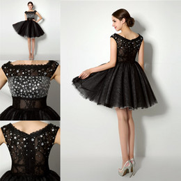 Wholesale Tank Prom Dresses - 2015 New Black Cocktail Dresses Mini Length A Line Jewel Tulle with Beaded Short Prom Dress Party Gowns