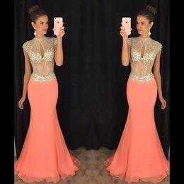 Wholesale Evening Dress Beaded Bust - Coral High Beaded Collar Keyhole Bust Rhinestone Chiffon Mermaid Prom Dresses 2016 Arabic Illusion Bodice Maxi Formal Evening Gowns BA2012