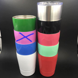 Wholesale Colored Glass Mugs - 9OZ Mugs stainless steel wine glasses multi colors 9OZ non-vacuum tumbler wine cup outdoor Hydration Gear with straws
