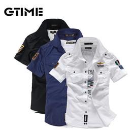 Wholesale Shirt Military Fashion - Wholesale-Fashion airforce uniform military short sleeve shirts men's dress shirt free shipping #W0064