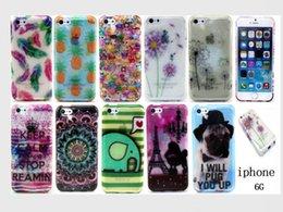 Wholesale Iphone 5c Elephant Case - Bling Glitter TPU Flower Tribal case for iphone 6 5G 5C Elephant Fruit Soft Gel Cover mix order