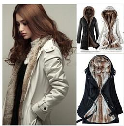Wholesale White Fur Lined Coat - Faux fur lining women's fur Hoodies Ladies coats winter warm long coat jacket cotton clothes thermal parkas