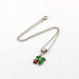 Wholesale Ladybug Charms Wholesale - Hot ! Necklace. 10 PCS Green Enamel Lucky Grass With Ladybug Charm Pendant Necklace 34mm*16mm