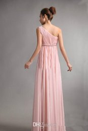 Wholesale Sweet Princess Greek - Free Shipping 2017 Bridesmaids Dresses Sweet princess Greek Style Goddess One-shoulder Bare Pink Party Dress pleats Discount Prom Dresses