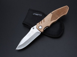 Wholesale Pocket Knives Usa - USA Benchmade M42 Folding knives 440C steel Satin Drop point wood handle EDC pocket knife knives with nylon sheath and retail box