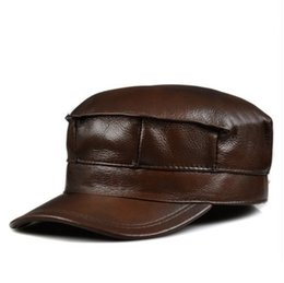 Wholesale Genuine Leather Winter Hats - Wholesale-BIG Discounts 2015 Genuine Leather Adjustable Baseball Cap Winter Cowhide Windproof Hats For Woman Man