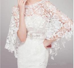Wholesale Wedding Dresses Lace Coats - 2016 Cheap Tulle Applique Bridal Wraps White Ivory 2015 Lace Wedding dresses Prom Bolero Coat Shrug Cape Shawl Flower Custom Made