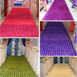 Wholesale Rose Table Runners - New Arrival Romantic Wedding Centerpieces Favors 3D Rose Petal Carpet Aisle Runner For Wedding Party Decoration Supplies 14 Color Available