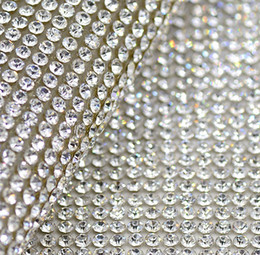 Wholesale Diamond Trim - Free shippment!2mm clear glass rhinestone Beaded trim Hotfix or self Adhesive strass Applique Banding Diamond mesh roll for diy Decoration