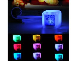 Wholesale Led Plastic Cube - New Hot LED Glowing Alarm Clock 7 Color Changing Digital Alarm Clock Thermometer Clock Cube wen4726