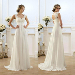 Wholesale Maternity Off Shoulder Wedding Dresses - Vintage Modest Wedding Gowns Capped Sleeves Empire Waist Plus Size Pregant Wedding Dresses Beach Chiffon Country Style Bridal Gown Maternity