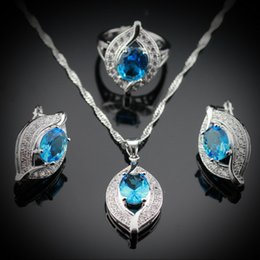 Wholesale Blue Topaz White Gold Necklace - Wholesale-Eye Shaped 925 Sterling Silver Jewelry Sets For Women Natural Blue Topaz Earrings Pendant Necklace Rings Free Jewelry Box JS99