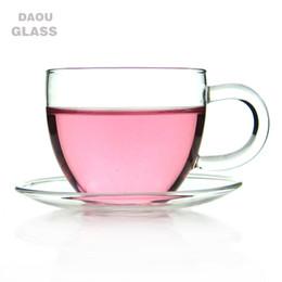 Wholesale Clear Glass Tea Cup Wholesale - 6Set   Lot Coffee Tea Set - 6*3.39 fl.oz 100ml Heat-Resisting Clear Glass Water Tea Cup Drink Mug w  Handle + 6* Pyrex Crystal Glass Saucer