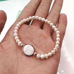 Wholesale panda birthday - Hot Lady Pulsera osos 5mm Irregular white Freshwater Pearls steel titanium Animal Panda style charms bracelet Birthday Jewelry for women