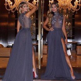 Wholesale High Neck Sleeveless Evening Dresses - High Neck Gray Evening Dresses Stunning Beaded Sleeveless Sheer Side Split Chiffon Formal Dresses Evening Wear Floor Length Custom Made Gown