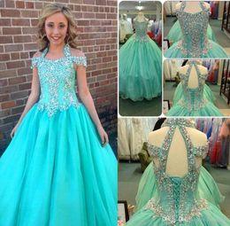 Wholesale Blue Formal Dresses For Juniors - Halter Pageant Dresses For Girls Teens Beadeds A Line Flower Girl Dresses For Weddings Junior Glitz First Communion Dress Kids Formal Wear