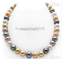 2019 i monili del sud della perla del mare si regolano New Fine Pearl Jewelry set 9-10mm south sea multicolore collana di perle 18 '' orecchino braccialetto e anello 14K i monili del sud della perla del mare si regolano economici