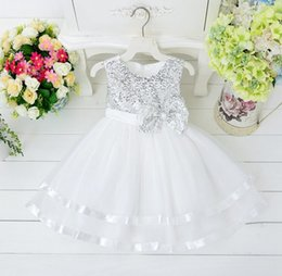 Wholesale Toddler Natural Pageant Dresses - 2015 baby fashion tutu vest dress girls princess dresses for party bowknot wedding dress kids christmas pageant dress toddler sequin gowns