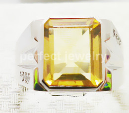 Wholesale Natural Citrine Rings - Men ring Natural citrine rings 925 sterling silver Perfect jewelry Free shipping Gemstone ring Real yellow crystal jewelry DH#15061217