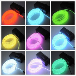 Wholesale El Light Wire Yellow - Flexible EL Wire Neon Light 8Colors 3M EL Wire Rope Tube with Controller Halloween Christmas Decoration for Dance Party Car Decor+Controller