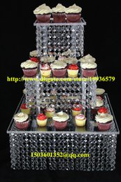 """Wholesale Square Acrylic Cake Stands - Acrylic crystal chandelier wedding square cake stand 3 tier dessert stand centerpieces - D 11""""-13-15"""""""