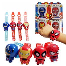 Wholesale Transformer Toy Wholesale - Children Superhero Watches Cartoon Digital Wristwatch Retractable Transformers Toy Watch Kids Novelty Toys Gifts Free DHL 528