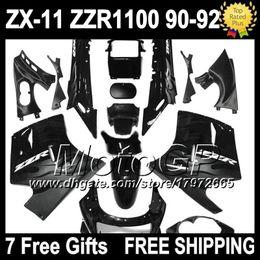 Wholesale Kawasaki 1992 - 7gifts Grey flames For KAWASAKI NINJA ZX11 ZZR1100 3G6172 ZX-11 90-92 ZZR 1100 ZX 11 90 91 92 ZX11R Grey black 1990 1991 1992 Fairing